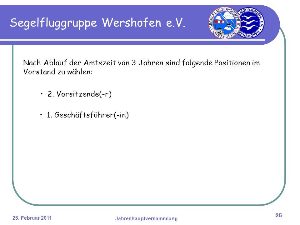 26. Februar 2011 Jahreshauptversammlung 25 Segelfluggruppe Wershofen e.V.