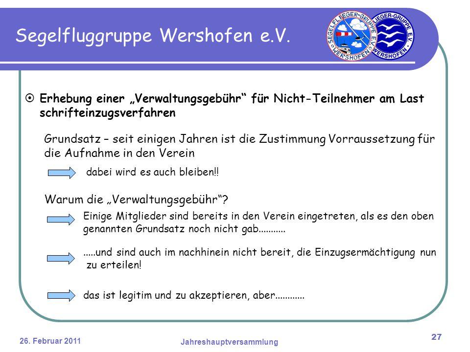 26. Februar 2011 Jahreshauptversammlung 27 Segelfluggruppe Wershofen e.V.