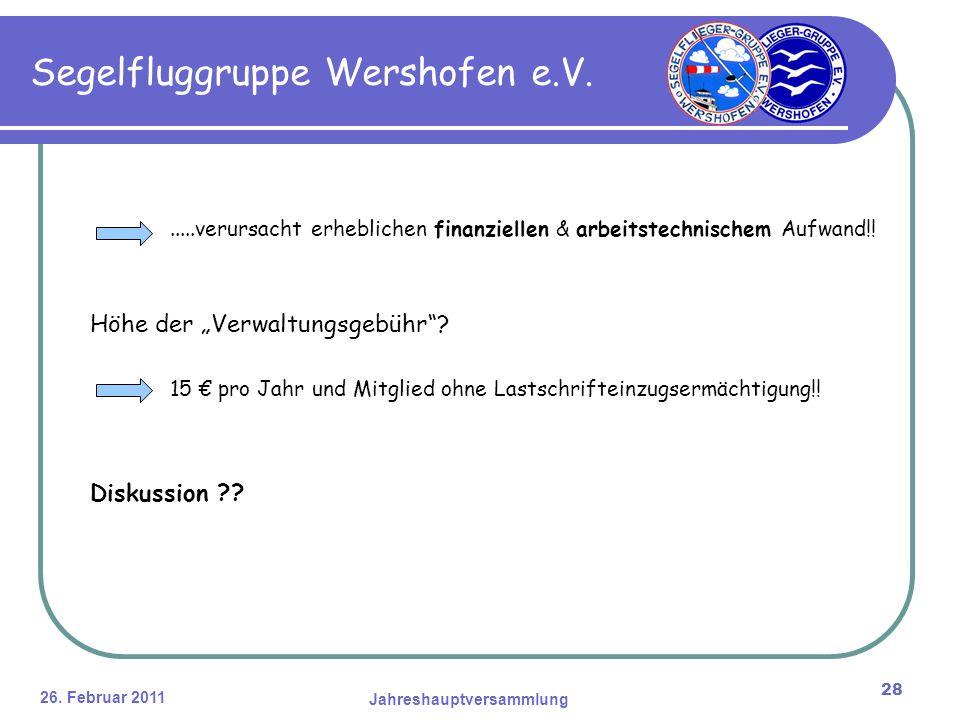 26. Februar 2011 Jahreshauptversammlung 28 Segelfluggruppe Wershofen e.V......verursacht erheblichen finanziellen & arbeitstechnischem Aufwand!! Höhe