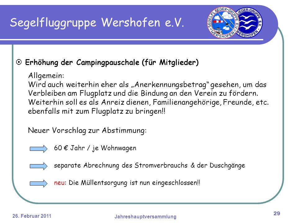 26. Februar 2011 Jahreshauptversammlung 29 Segelfluggruppe Wershofen e.V.