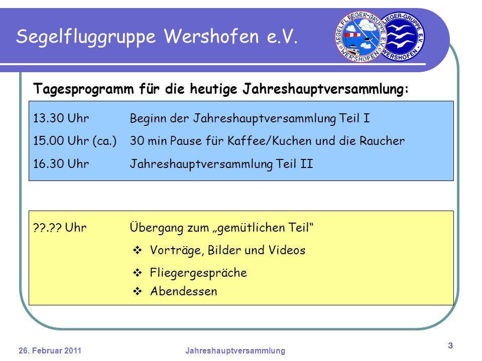26. Februar 2011Jahreshauptversammlung 3 Segelfluggruppe Wershofen e.V.