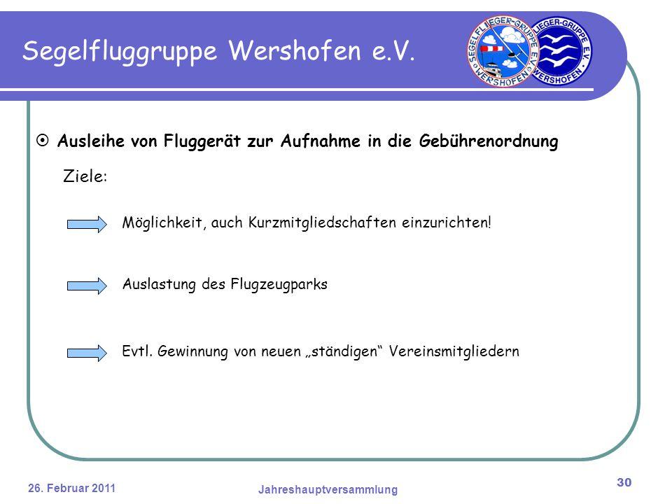 26. Februar 2011 Jahreshauptversammlung 30 Segelfluggruppe Wershofen e.V.
