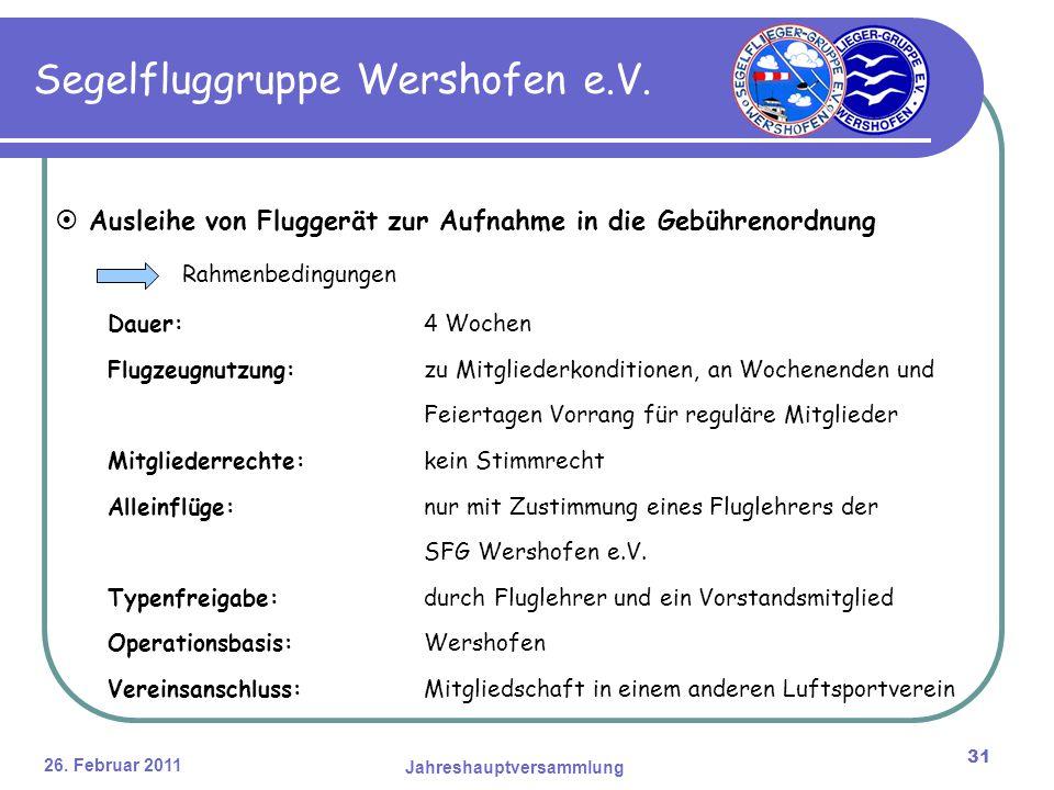 26. Februar 2011 Jahreshauptversammlung 31 Segelfluggruppe Wershofen e.V.