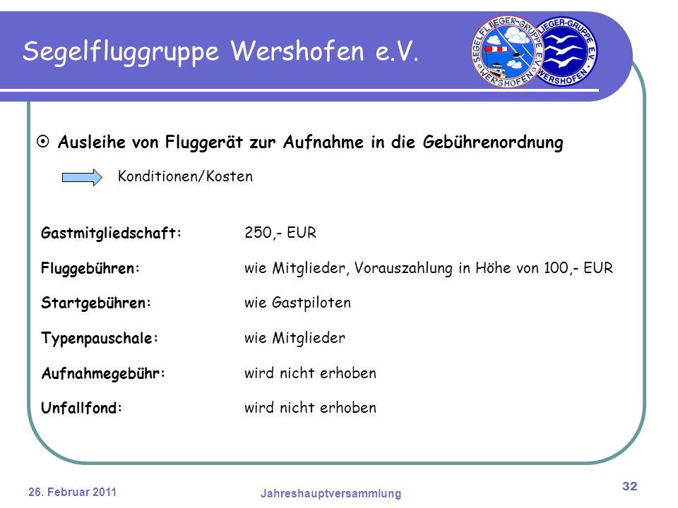 26. Februar 2011 Jahreshauptversammlung 32 Segelfluggruppe Wershofen e.V.