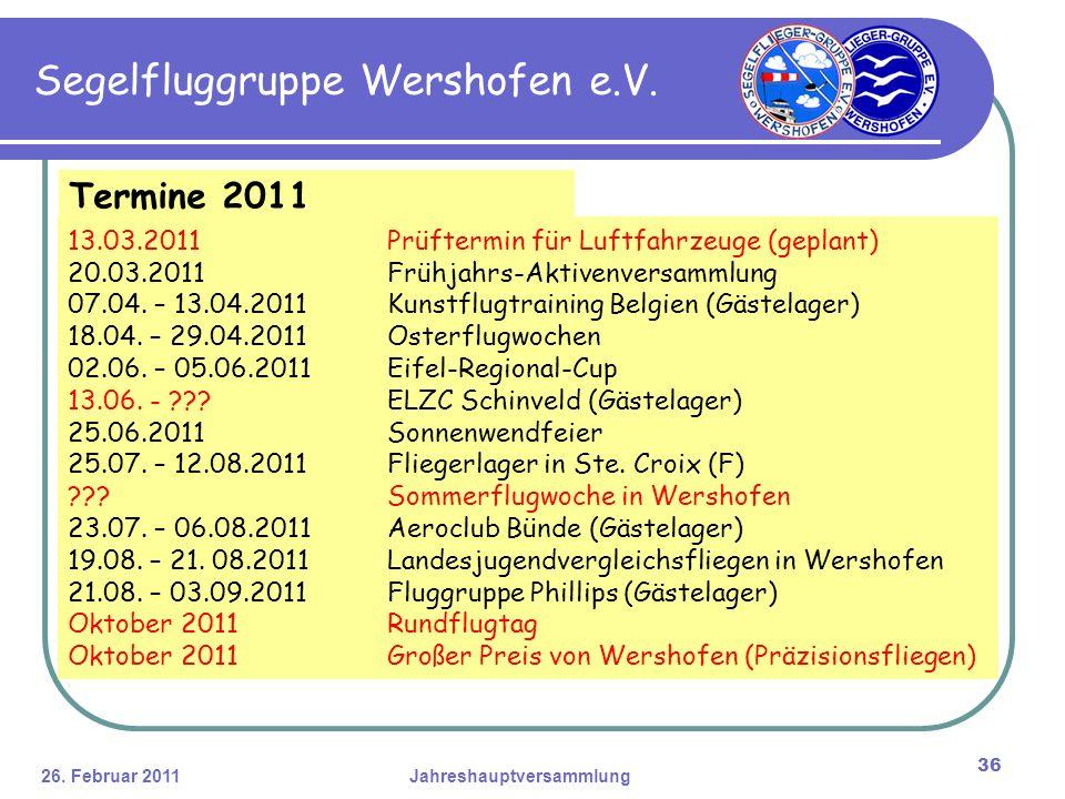 26. Februar 2011Jahreshauptversammlung 36 Segelfluggruppe Wershofen e.V.