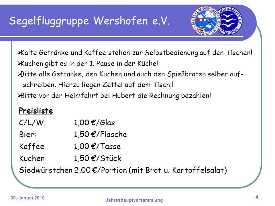 30. Januar 2010 Jahreshauptversammlung 4 Segelfluggruppe Wershofen e.V.
