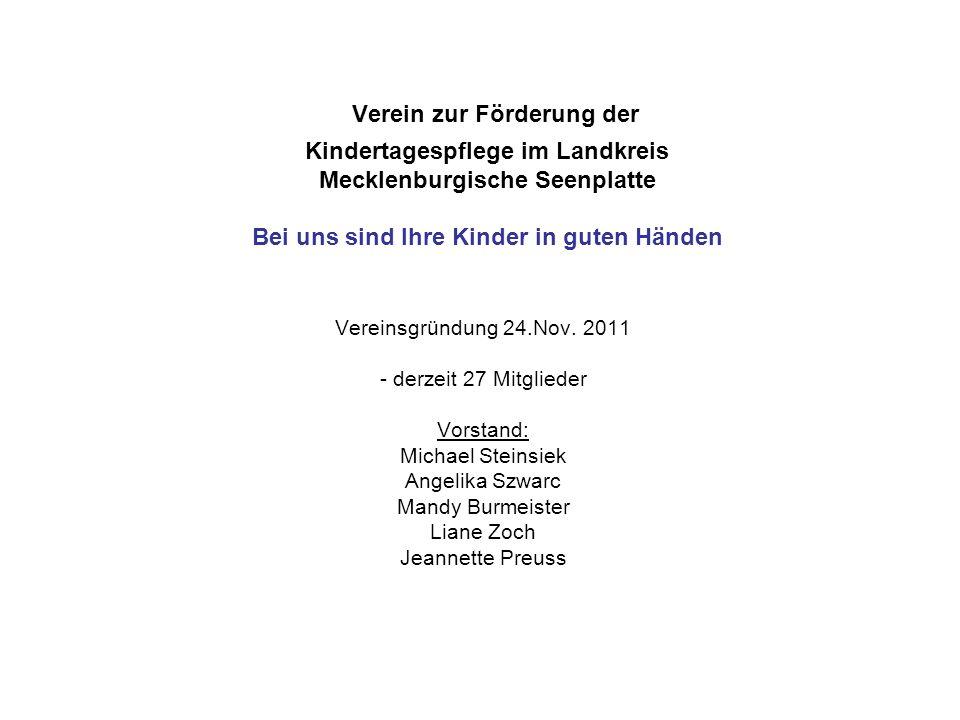 Verein zur Förderung der Kindertagespflege im Landkreis Mecklenburgische Seenplatte Bei uns sind Ihre Kinder in guten Händen Vereinsgründung 24.Nov.