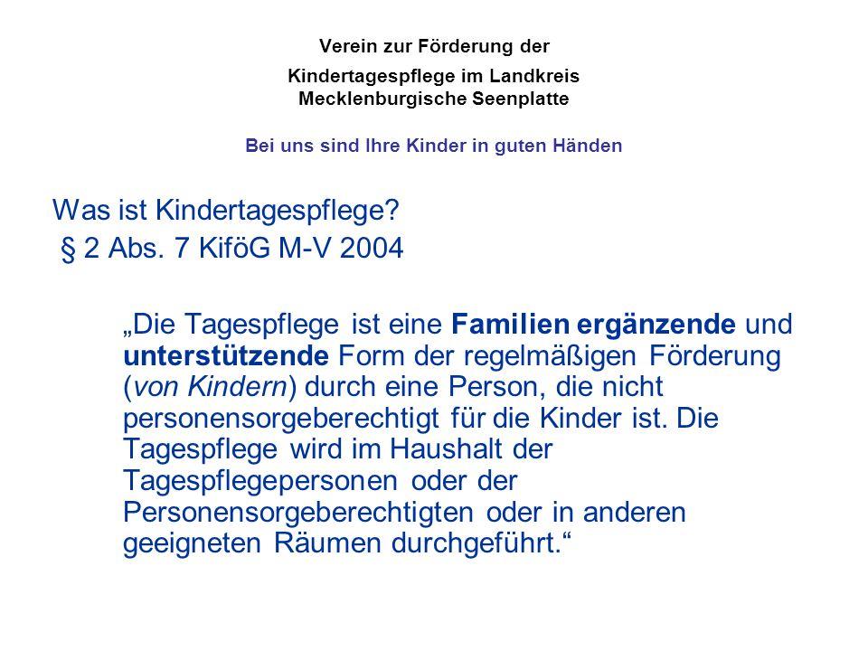 Verein zur Förderung der Kindertagespflege im Landkreis Mecklenburgische Seenplatte Bei uns sind Ihre Kinder in guten Händen Was ist Kindertagespflege.
