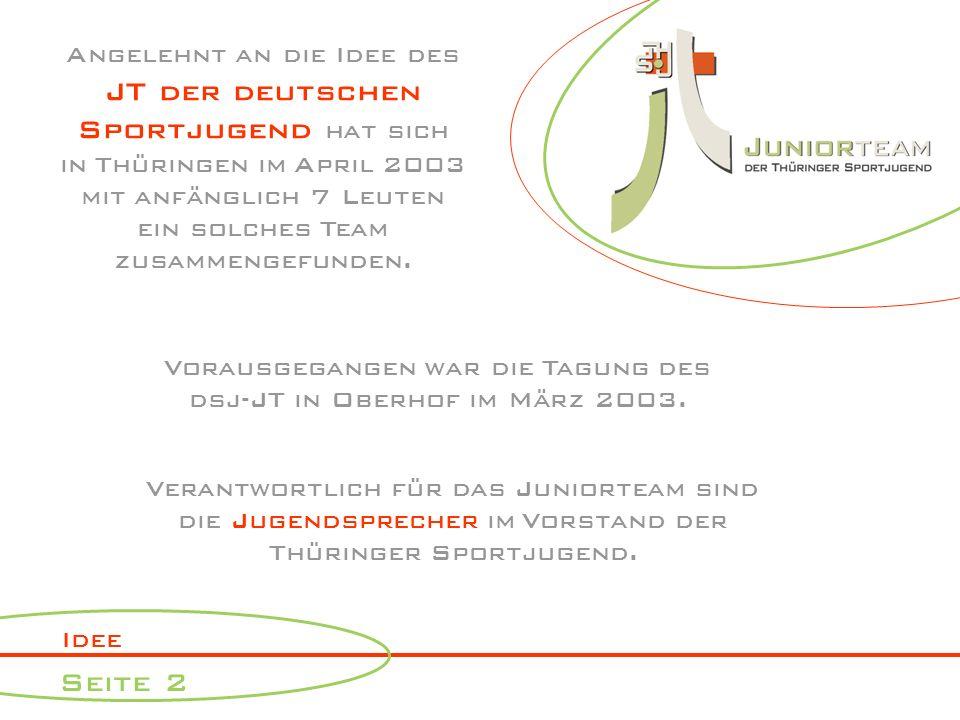 Idee Seite 2 Angelehnt an die Idee des JT der deutschen Sportjugend hat sich in Thüringen im April 2003 mit anfänglich 7 Leuten ein solches Team zusammengefunden.