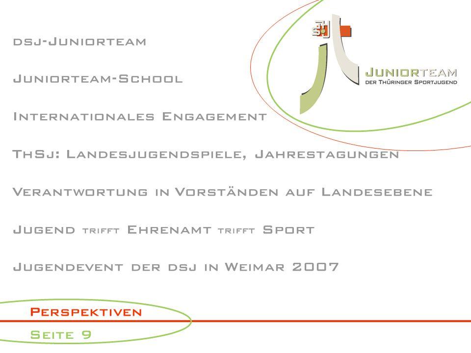 Perspektiven Seite 9 dsj-Juniorteam Juniorteam-School Internationales Engagement ThSj: Landesjugendspiele, Jahrestagungen Verantwortung in Vorständen auf Landesebene Jugend trifft Ehrenamt trifft Sport Jugendevent der dsj in Weimar 2007
