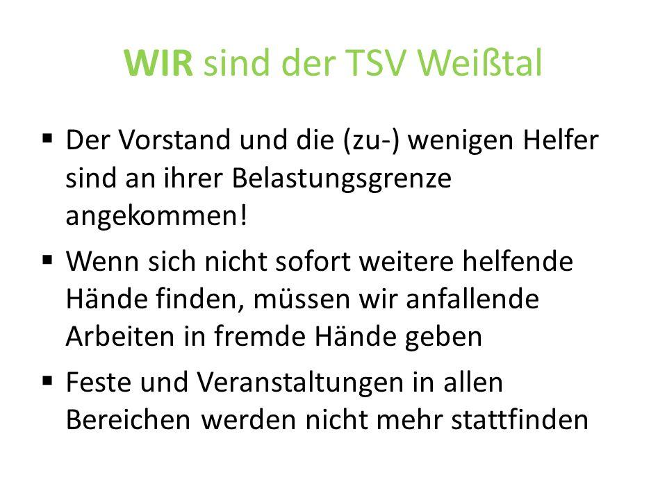 WIR sind der TSV Weißtal  Der Vorstand und die (zu-) wenigen Helfer sind an ihrer Belastungsgrenze angekommen.