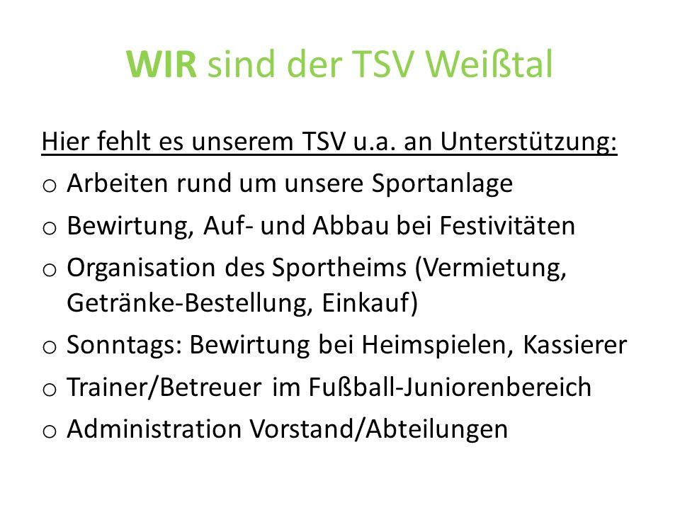 WIR sind der TSV Weißtal Wenn jedes Vereinsmitglied im Jahr nur ein oder zwei Stunden Zeit investiert, funktioniert auch unser Verein wieder!