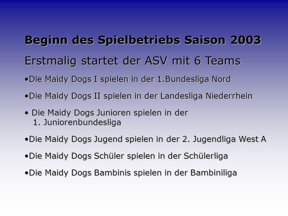 Maidy Dogs I (2004) oben v.l. S. Gunawan, K. Neugebauer, Betreuer M. Seggewiß, Betreuer M. Roppel, Trainer L. Godescheit, C. Leers, D. Stemberg mitte