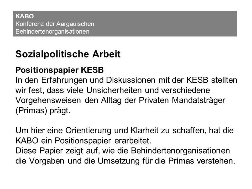 Sozialpolitische Arbeit Positionspapier KESB In den Erfahrungen und Diskussionen mit der KESB stellten wir fest, dass viele Unsicherheiten und verschi