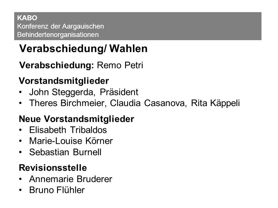 Verabschiedung/ Wahlen Verabschiedung: Remo Petri Vorstandsmitglieder John Steggerda, Präsident Theres Birchmeier, Claudia Casanova, Rita Käppeli Neue