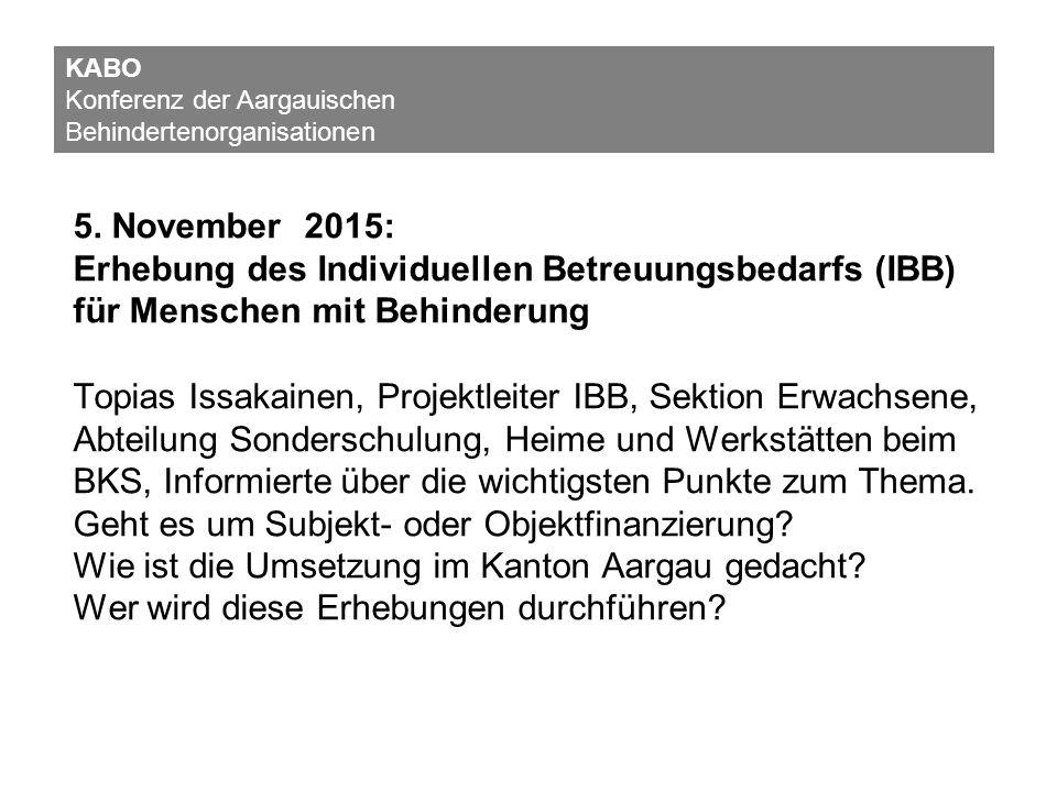 5. November 2015: Erhebung des Individuellen Betreuungsbedarfs (IBB) für Menschen mit Behinderung Topias Issakainen, Projektleiter IBB, Sektion Erwach