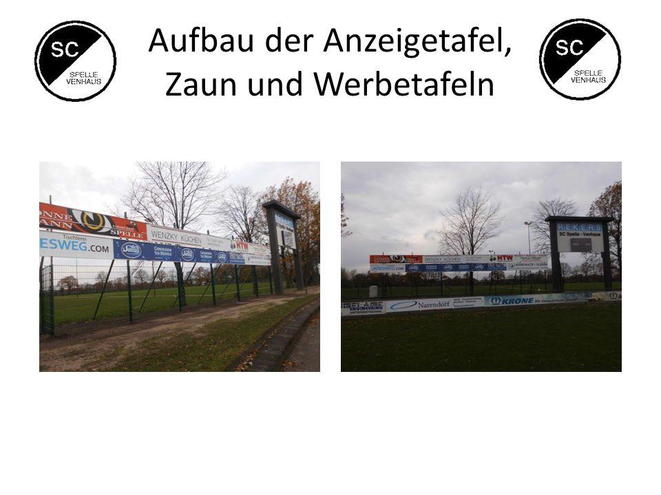 Aufbau der Anzeigetafel, Zaun und Werbetafeln