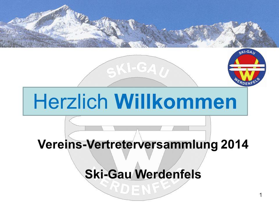 HerzlichH Herzlich Willkommen Vereins-Vertreterversammlung 2014 Ski-Gau Werdenfels 1