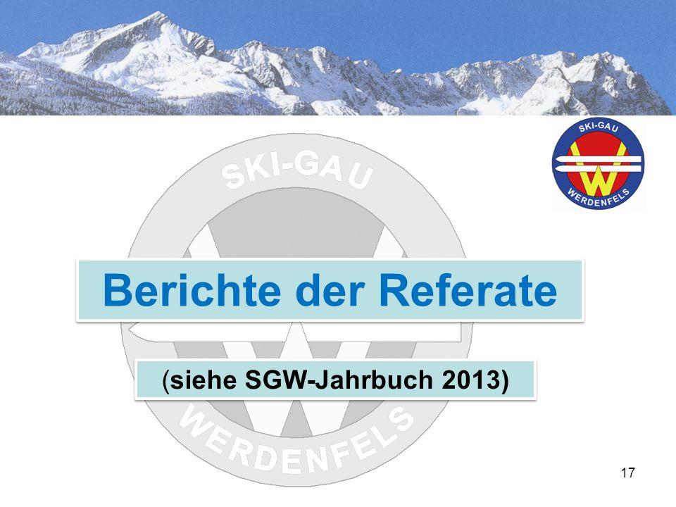 17 Berichte der Referate (siehe SGW-Jahrbuch 2013)
