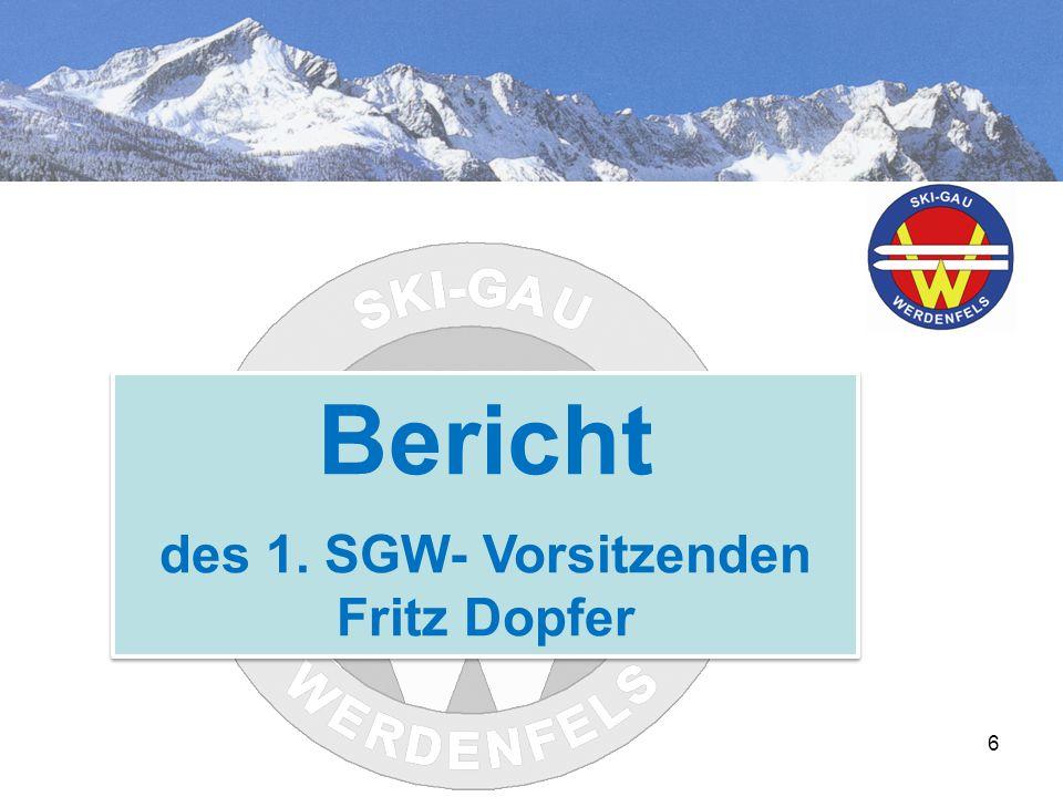 6 Bericht des 1. SGW- Vorsitzenden Fritz Dopfer Bericht des 1. SGW- Vorsitzenden Fritz Dopfer