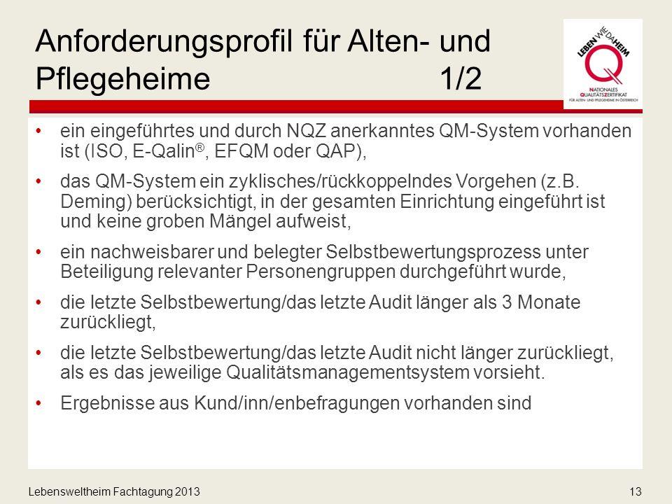 Lebensweltheim Fachtagung 201313 Anforderungsprofil für Alten- und Pflegeheime1/2 ein eingeführtes und durch NQZ anerkanntes QM-System vorhanden ist (ISO, E-Qalin ®, EFQM oder QAP), das QM-System ein zyklisches/rückkoppelndes Vorgehen (z.B.