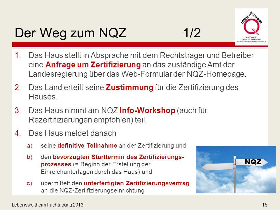 Lebensweltheim Fachtagung 201315 Der Weg zum NQZ1/2 1.Das Haus stellt in Absprache mit dem Rechtsträger und Betreiber eine Anfrage um Zertifizierung an das zuständige Amt der Landesregierung über das Web-Formular der NQZ-Homepage.