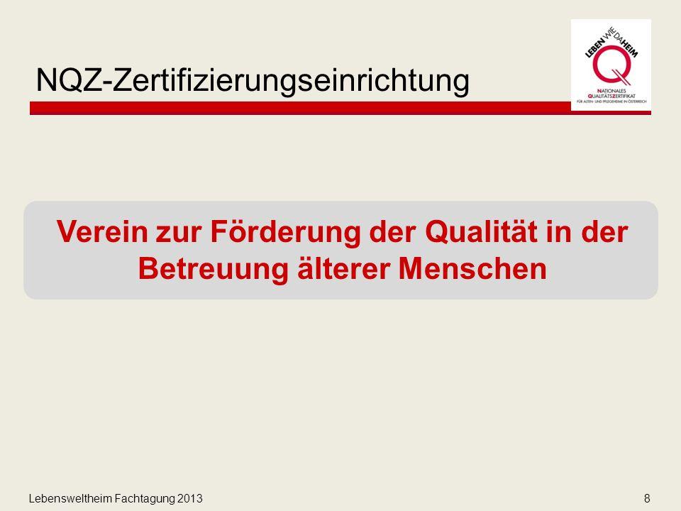 Lebensweltheim Fachtagung 20138 NQZ-Zertifizierungseinrichtung Verein zur Förderung der Qualität in der Betreuung älterer Menschen