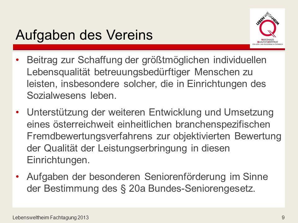 Lebensweltheim Fachtagung 20139 Aufgaben des Vereins Beitrag zur Schaffung der größtmöglichen individuellen Lebensqualität betreuungsbedürftiger Menschen zu leisten, insbesondere solcher, die in Einrichtungen des Sozialwesens leben.