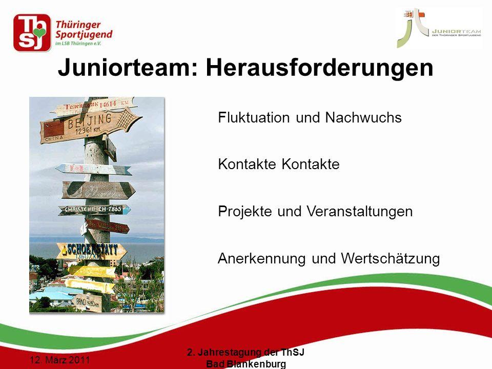 11 () 12. März 2011 2. Jahrestagung der ThSJ Bad Blankenburg Juniorteam: Herausforderungen Fluktuation und Nachwuchs Kontakte Projekte und Veranstaltu