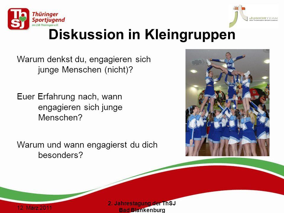 12 () 12. März 2011 2. Jahrestagung der ThSJ Bad Blankenburg Diskussion in Kleingruppen Warum denkst du, engagieren sich junge Menschen (nicht)? Euer