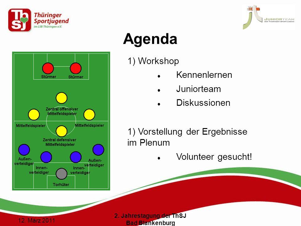 2 () 12. März 2011 2. Jahrestagung der ThSJ Bad Blankenburg Agenda 1) Workshop Kennenlernen Juniorteam Diskussionen 1) Vorstellung der Ergebnisse im P