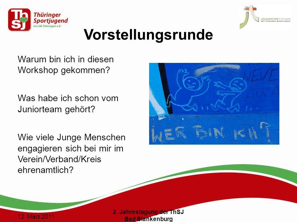 3 () 12. März 2011 2. Jahrestagung der ThSJ Bad Blankenburg Vorstellungsrunde Warum bin ich in diesen Workshop gekommen? Was habe ich schon vom Junior