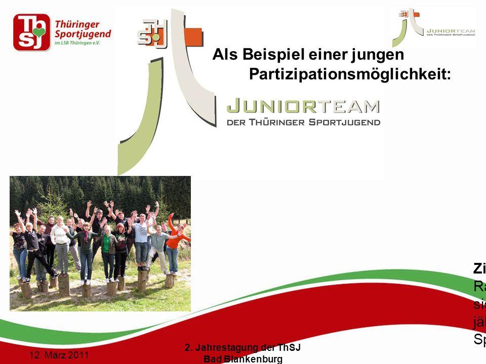 4 () 12. März 2011 2. Jahrestagung der ThSJ Bad Blankenburg Als Beispiel einer jungen Partizipationsmöglichkeit: Ziel: Rahmenbedingungen schaffen, das