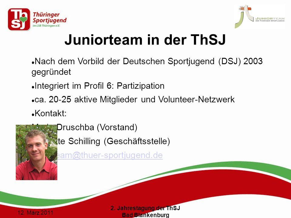 5 () 12. März 2011 2. Jahrestagung der ThSJ Bad Blankenburg Juniorteam in der ThSJ Nach dem Vorbild der Deutschen Sportjugend (DSJ) 2003 gegründet Int