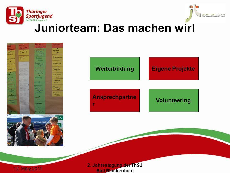 7 () 12. März 2011 2. Jahrestagung der ThSJ Bad Blankenburg Juniorteam: Das machen wir! Eigene Projekte Volunteering Ansprechpartne r Weiterbildung