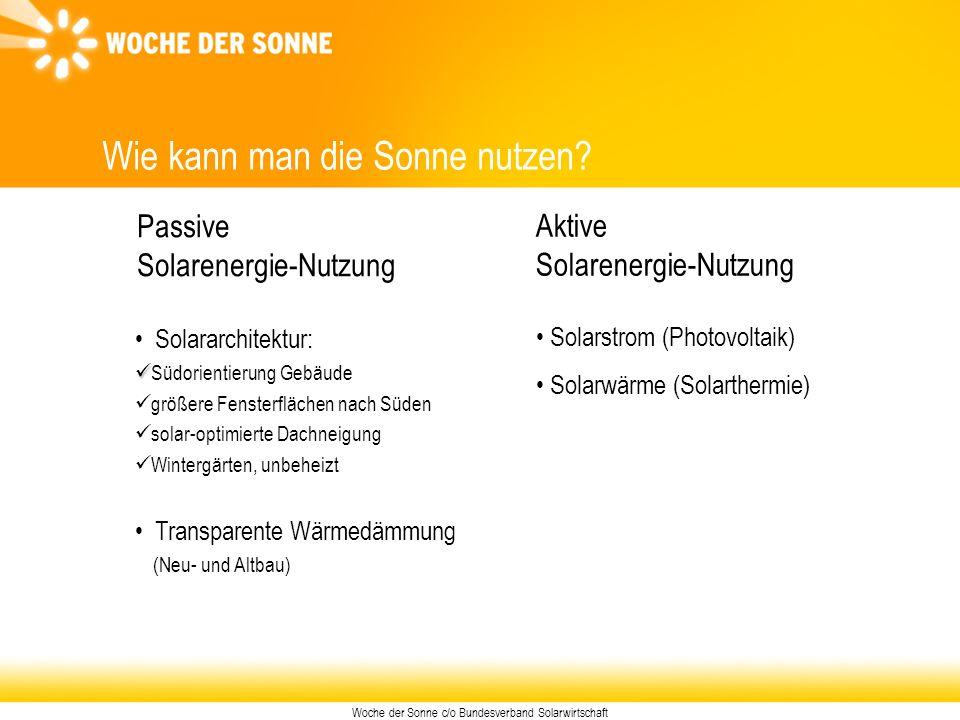Woche der Sonne c/o Bundesverband Solarwirtschaft Aktive Solarenergie-Nutzung Wie kann man die Sonne nutzen? Passive Solarenergie-Nutzung Solararchite