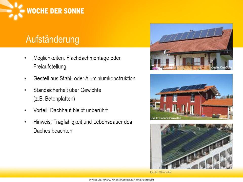 Woche der Sonne c/o Bundesverband Solarwirtschaft Aufständerung Möglichkeiten: Flachdachmontage oder Freiaufstellung Gestell aus Stahl- oder Aluminium
