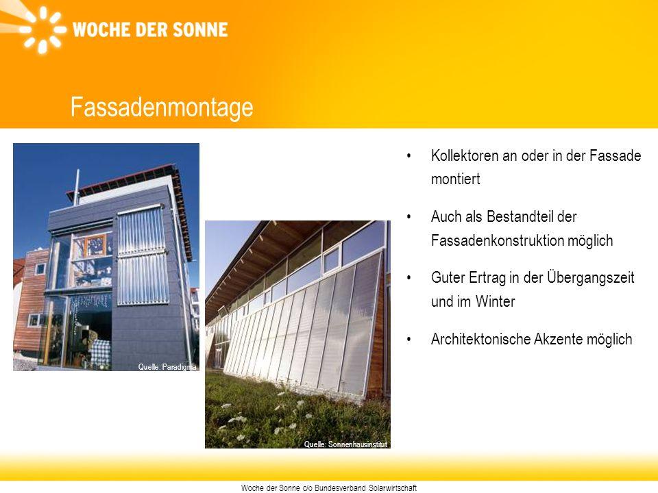 Woche der Sonne c/o Bundesverband Solarwirtschaft Fassadenmontage Kollektoren an oder in der Fassade montiert Auch als Bestandteil der Fassadenkonstru