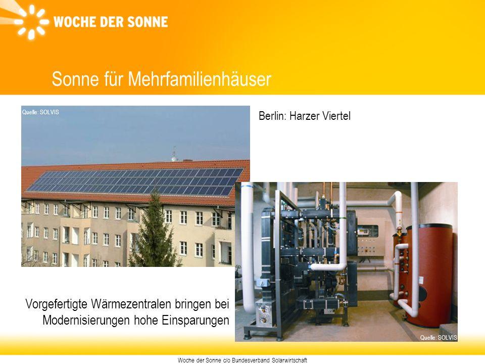 Woche der Sonne c/o Bundesverband Solarwirtschaft Sonne für Mehrfamilienhäuser Quelle: SOLVIS Berlin: Harzer Viertel Vorgefertigte Wärmezentralen brin