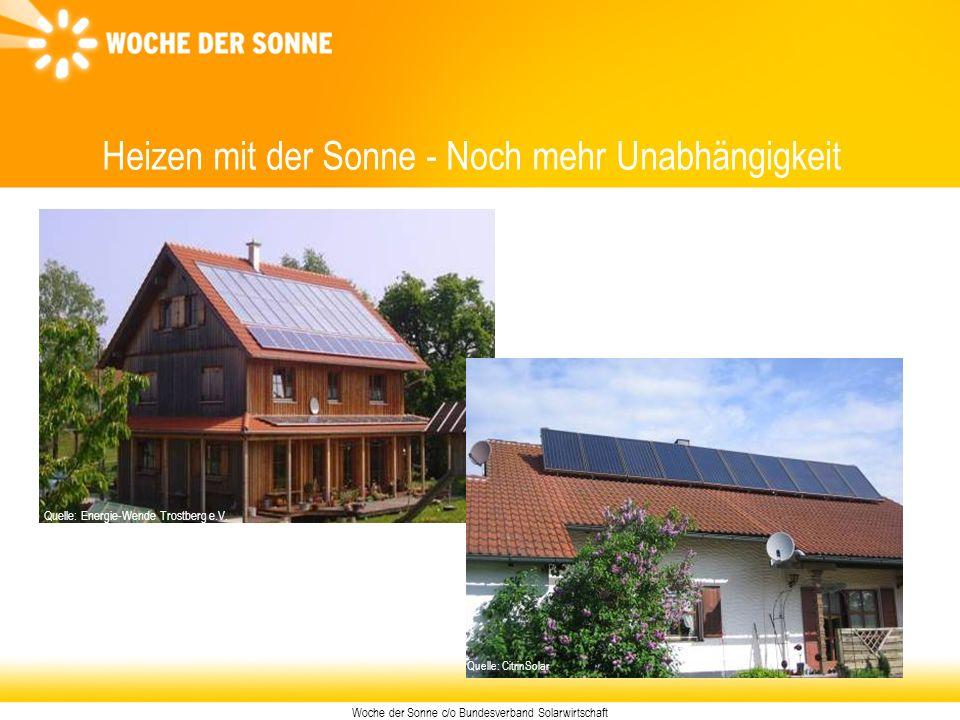 Woche der Sonne c/o Bundesverband Solarwirtschaft Heizen mit der Sonne - Noch mehr Unabhängigkeit Foto: Energie-Wende Trostberg e.V. Quelle: Energie-W