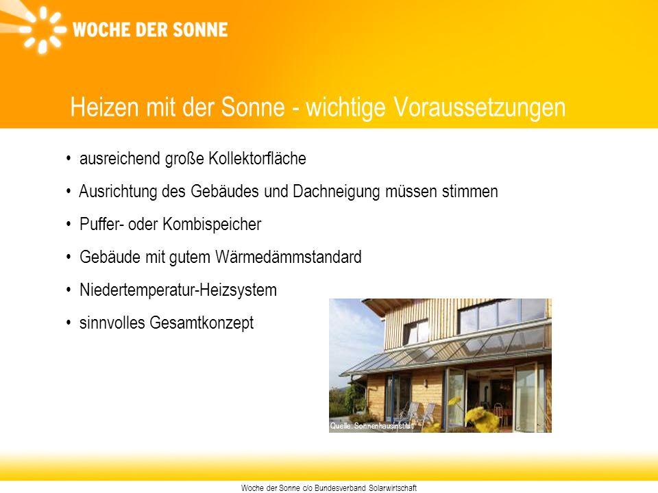 Woche der Sonne c/o Bundesverband Solarwirtschaft Heizen mit der Sonne - wichtige Voraussetzungen ausreichend große Kollektorfläche Ausrichtung des Ge
