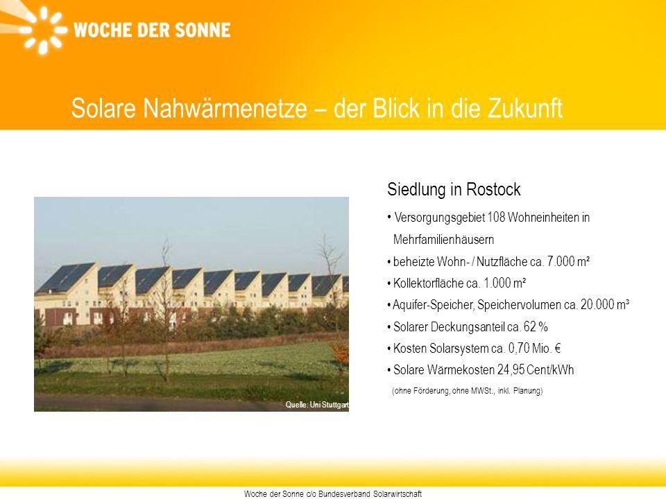 Woche der Sonne c/o Bundesverband Solarwirtschaft Solare Nahwärmenetze – der Blick in die Zukunft Siedlung in Rostock Versorgungsgebiet 108 Wohneinhei