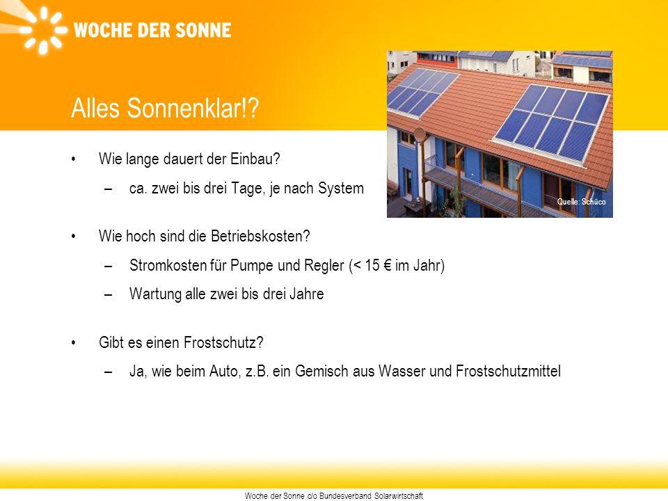 Woche der Sonne c/o Bundesverband Solarwirtschaft Alles Sonnenklar!? Wie lange dauert der Einbau? –ca. zwei bis drei Tage, je nach System Wie hoch sin