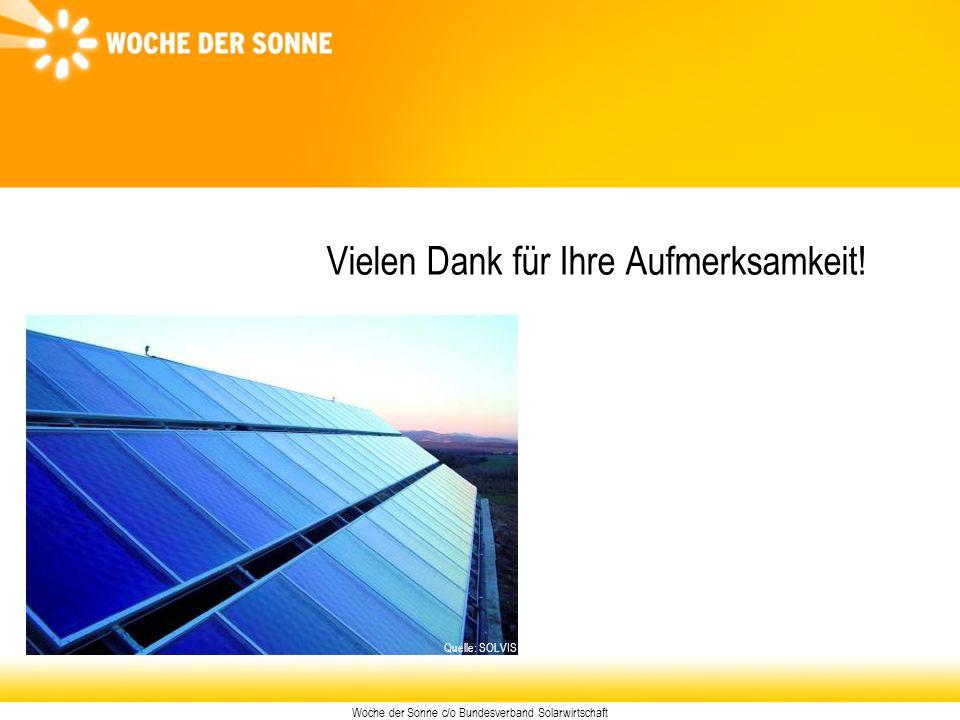 Woche der Sonne c/o Bundesverband Solarwirtschaft Vielen Dank für Ihre Aufmerksamkeit! Quelle: SOLVIS