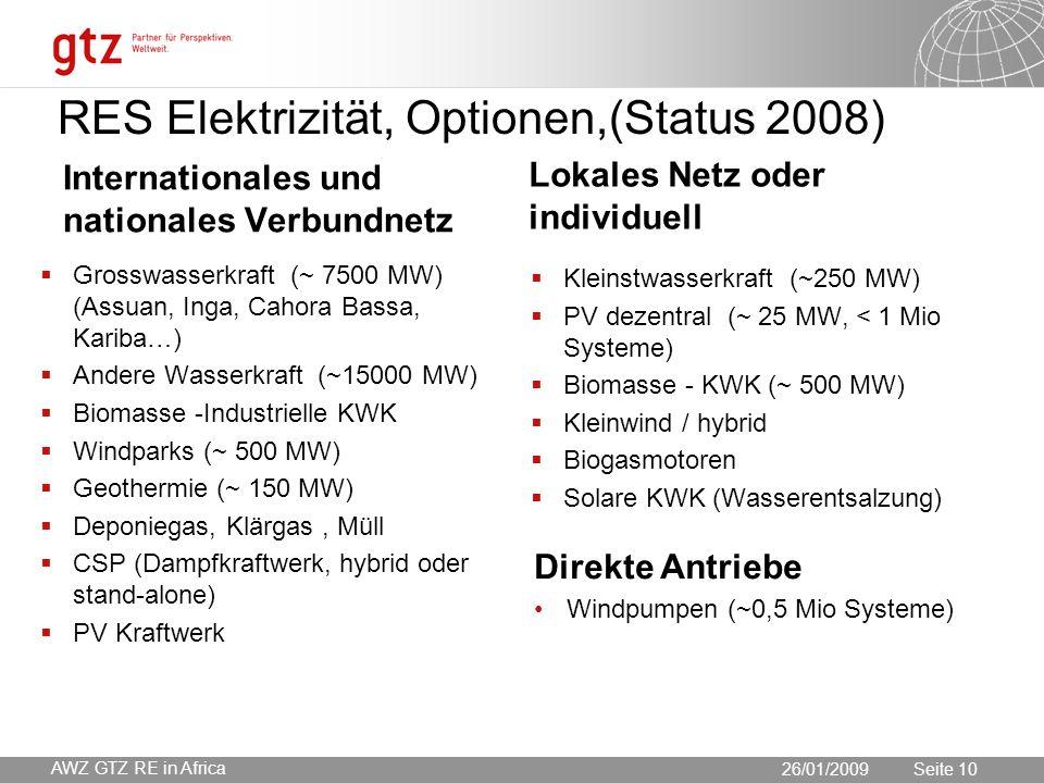 30.05.2016 Seite 10 Seite 10 RES Elektrizität, Optionen,(Status 2008) Internationales und nationales Verbundnetz  Grosswasserkraft (~ 7500 MW) (Assuan, Inga, Cahora Bassa, Kariba…)  Andere Wasserkraft (~15000 MW)  Biomasse -Industrielle KWK  Windparks (~ 500 MW)  Geothermie (~ 150 MW)  Deponiegas, Klärgas, Müll  CSP (Dampfkraftwerk, hybrid oder stand-alone)  PV Kraftwerk Lokales Netz oder individuell  Kleinstwasserkraft (~250 MW)  PV dezentral (~ 25 MW, < 1 Mio Systeme)  Biomasse - KWK (~ 500 MW)  Kleinwind / hybrid  Biogasmotoren  Solare KWK (Wasserentsalzung) 26/01/2009 AWZ GTZ RE in Africa Direkte Antriebe Windpumpen (~0,5 Mio Systeme)