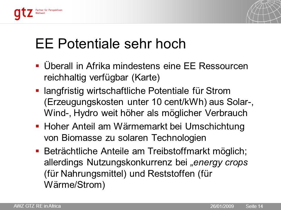 """30.05.2016 Seite 14 Seite 14 EE Potentiale sehr hoch  Überall in Afrika mindestens eine EE Ressourcen reichhaltig verfügbar (Karte)  langfristig wirtschaftliche Potentiale für Strom (Erzeugungskosten unter 10 cent/kWh) aus Solar-, Wind-, Hydro weit höher als möglicher Verbrauch  Hoher Anteil am Wärmemarkt bei Umschichtung von Biomasse zu solaren Technologien  Beträchtliche Anteile am Treibstoffmarkt möglich; allerdings Nutzungskonkurrenz bei """"energy crops (für Nahrungsmittel) und Reststoffen (für Wärme/Strom) 26/01/2009 AWZ GTZ RE in Africa"""