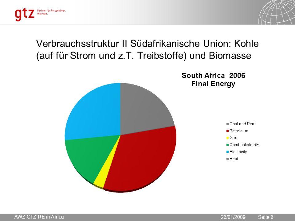 30.05.2016 Seite 6 Seite 6 Verbrauchsstruktur II Südafrikanische Union: Kohle (auf für Strom und z.T.
