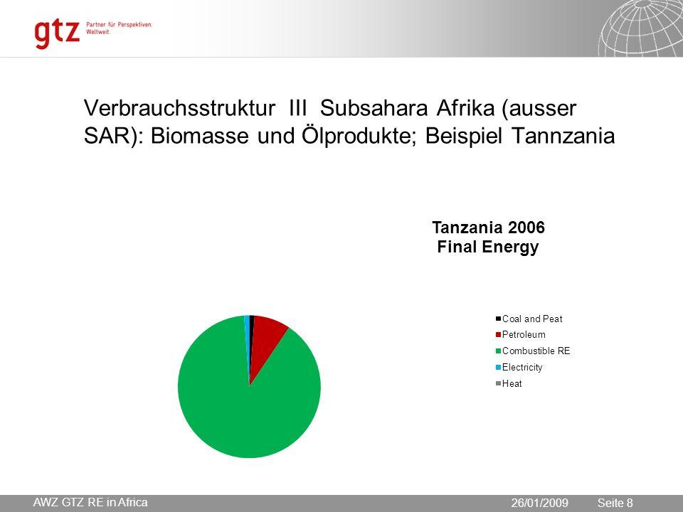 30.05.2016 Seite 8 Seite 826/01/2009 AWZ GTZ RE in Africa Verbrauchsstruktur III Subsahara Afrika (ausser SAR): Biomasse und Ölprodukte; Beispiel Tannzania