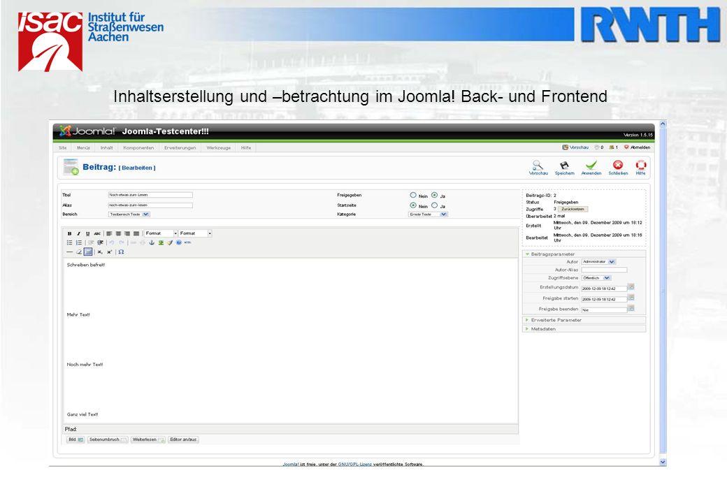 Inhaltserstellung und –betrachtung im Joomla! Back- und Frontend