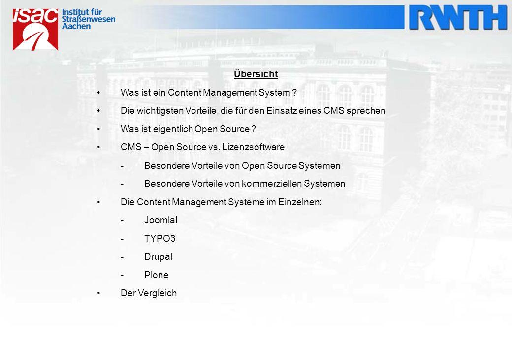 grob übersetzt: Inhaltsverwaltungssystem, Kurzform CMS dient zur gemeinschaftlichen Erstellung und Bearbeitung von Inhalten Inhalte bestehen aus Text- und Multimedia-Dokumenten, dienen meistens für die Generierung von Webinhalten Autor kann ohne Programmier- oder HTML-Kenntnisse Inhalte erstellen bei ausschließlichen Web-Anwendungen wird der Begriff Web-Content-Management- System benutzt medienneutrale Datenhaltung - als PDF- oder als HTML-Dokument abrufbar klassischen Redaktionssysteme WAS IST EIN CONTENT MANAGEMENT SYSTEM?